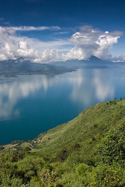 Sun shining over Lago de Atitlán.