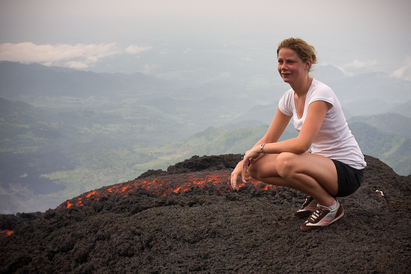 Jenny gets closer to the lava than I would have.