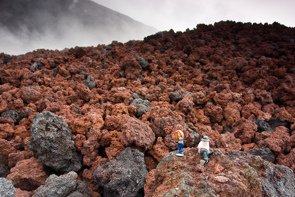 Our little plastic friends get a volcano experience.