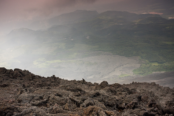Older lava slowly breaking up.