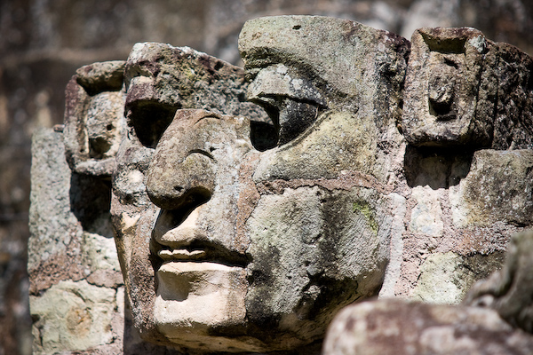 A face carved into the stone.