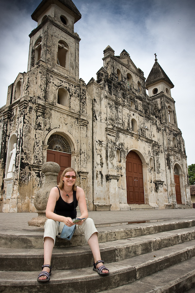 Keryn on the steps of Iglesia Guadalupe.