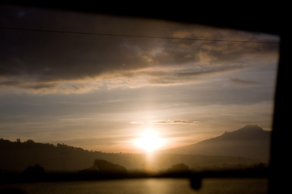 The morning sunrise from the bus