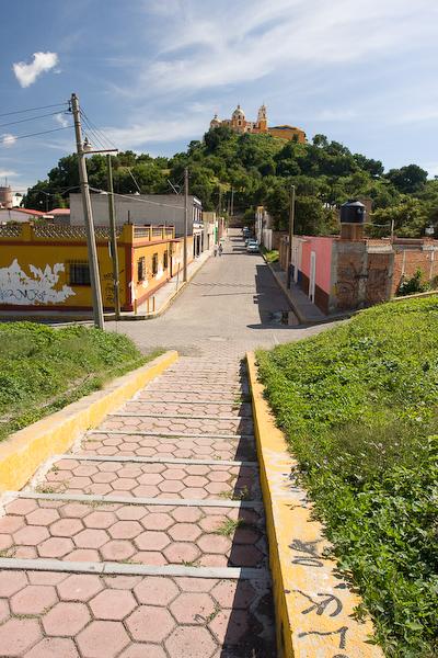 Walking towards the Church of Nuestra Senora de los Remedios atop the Pirámide Tepanapa