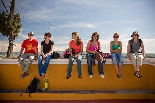 Atop the walls of the Church of Nuestra Senora de los Remedios: Mark, Nina, Jessica, Claire, Jenny and Keryn